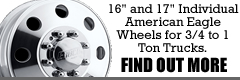 "16"" and 17"" individual american eagle wheels for 3/4 to 1 ton trucks.  Find out more..."