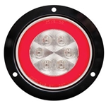 "4"" Round GloLightTM Clear Stop/Turn/Tail Light with Flange Mount"