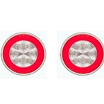 "4"" Round GloLightTM Clear Stop/Turn/Tail Light RED Pair"